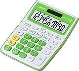 CASIO カラフルミニジャストタイプ電卓 MW-C10A-GN-N 10桁 (エコ仕様 00キー/桁落しキー追加 表示保護パネル追加)