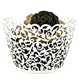 Evalley 24/60/100/120pcs White Artistic Filigree Little Vine Lace Laser Cut Cupcake Wrapper Liner Baking Cup Muffin Case Bake Cake Box Decor Trays for Wedding Birthday Party (100)