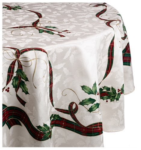 Lenox Holiday Nouveau 60-by-84-Inch Oval Tablecloth