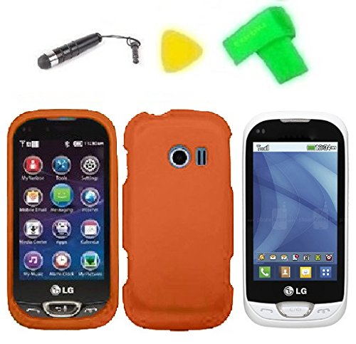 Phone Cover Case Cell Phone Accessory + Extreme Band + Stylus Pen + Lcd Screen Protector + Yellow Pry Tool For Lg Freedom Ii 2 Un280 (Orange)