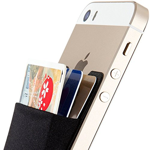 Card Holder, Sinjimoru Stick-on Wallet functioning as iPhone Wallet Case, iPhone case with a card holder, Credit Card Wallet, Card Case and Money Clip. For Android, too. Sinji Pouch Basic 2, Black