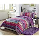 Chezmoi Collection Lilac Purple Stripe 2 Piece Reversible Comforter Set Twinx Large Twin