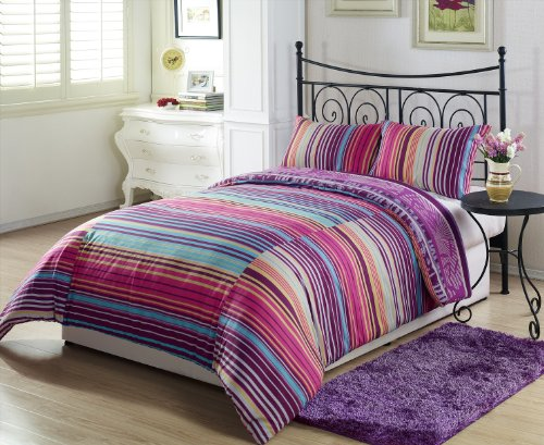 Chezmoi Collection Soft Microfiber Lilac Purple Orange Leaf White Yellow Blue Stripe 3pcs Reversible Duvet Cover Set Queen