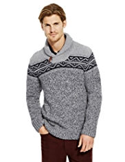 North Coast Shawl Collar Fair Isle Jumper with Wool