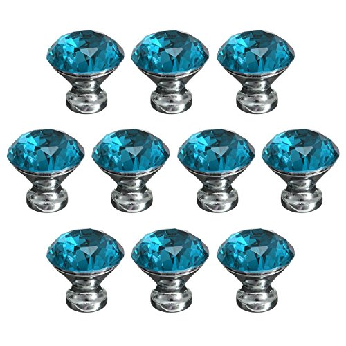 KINGSO 10pcs Crystal Glass Cupboard Wardrobe Knob Door Cabinet Drawer Pull Handle 30mm Cabinet Drawer Accessories