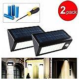 GRDE® 400 Lumens 32 LED Solar Powered PIR Motion Sensor Light, Rechargeable Waterproof Outdoor Solar Wall / Porch / Pathway / Garden / Street Light (2 Pack)