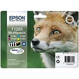 Epson T1285 - Pack de 4 cartuchos de tinta, tricolor y negro