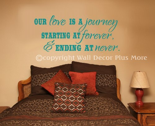 Wall Decor Plus More WDPM2893 Our Love is a Journey, Beginning at Forever and Ending at Never Wall Decal Bedroom Quote, 27x11.5-Inch, Turquoise by Wall Decor Plus More
