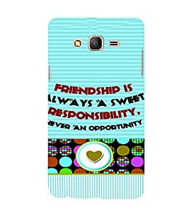 PrintVisa Friendship Quotes Design 3D Hard Polycarbonate Designer Back Case Cover for Samsung Galaxy On 7
