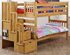 Cloudseller STAIRCASE BUNK BED WITH 3 DRAWER STORAGE IN WAX + 2 ECOFLEX 15CM FOAM MATTRESSES