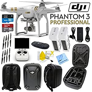 DJI Phantom 3 Professional Quadcopter Drone with 4K UHD Video Camera & CS Travel Kit: Includes Handheld Transmitter (Radio Controller), Sandisk 32GB Ultra MicroSD Memory Card, Lexar 16GB 633x MicroSD Memory Card, SD Card Reader, 2x Intelligent Flight Batteries, 2 Sets of Propellers, Smart Battery Charger, DJI Phantom 3 Hardshell Backpack, Brush Blower, Cleaning Kit & CS Microfiber Cleaning Cloth