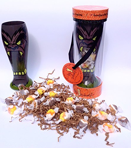 Halloween or Birthday Monster Glass Filled With Gourmet Flavored Salt Water Taffy Candy Gift Pack