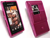 EMARTBUY SONY ERICSSON SATIO LCD SCREEN PROTECTOR AND DOTS PATTERN GEL SKIN COVER/CASE HOT PINK