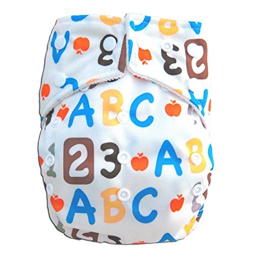 "Kawaii Baby One Size Organic Bamboo Terry Cloth Diaper with 2 Bamboo Inserts ""ABC"""