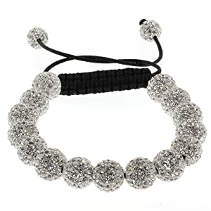 Fully Iced Out Hip Hop 15 White Disco Ball Adjustable Pave Bracelet