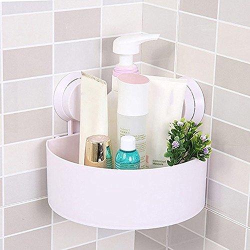 New Design Plastic Suction Cup Holder Bathroom Kitchen Corner Storage Rack Organizer Shower Shelf Wall Bathroom Accessories (White)