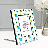 EzyPRNT Photo Frame For 4x6 Inch Photo, Wooden Table Top Cum Wall Hanging With Squares And Illusion Theme