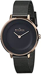 Skagen Women's SKW2277 Ditte Rose-Tone Stainless Steel Watch with Black Mesh Bracelet