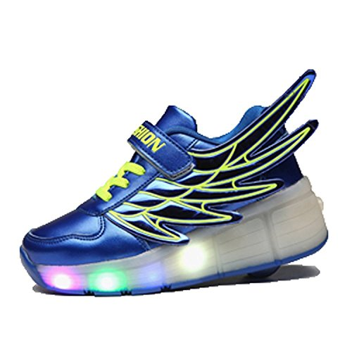 Yilaiyiqu_1 Popular Kids fashion sneakers with single wheels LED roller skate Blue3 M US Little Kid Comfortable (Ebay Shopping Cart compare prices)