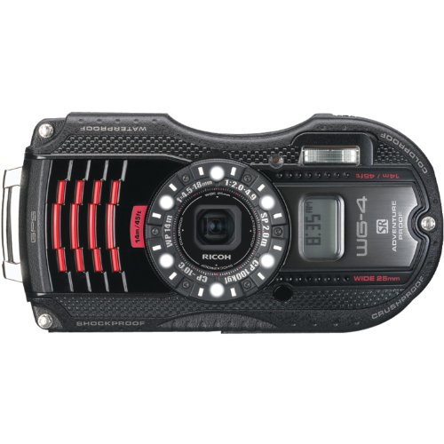 Ricoh WG-4 GPS black 16Digital Camera with 4x Optical Image Stabilized Zoom with 3-Inch LCD (Black)