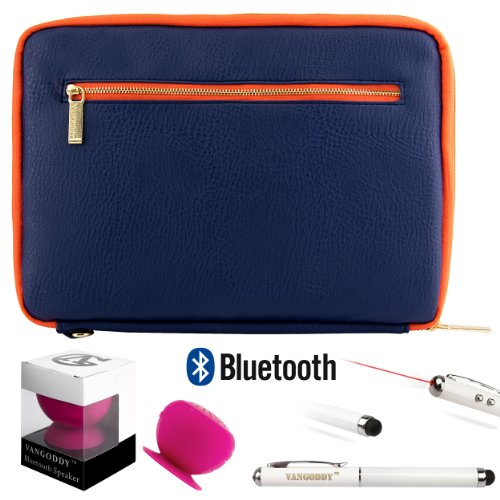 Irista Carrying Leather Sleeve (Midnight Blue, Orange) For Samsung Galaxy Note 10.1 (2014 Edition) Android Tablet + Bluetooth Suction Speaker + Stylus