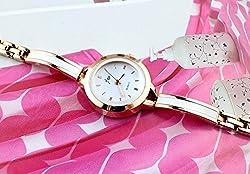 Golden Bracelet Semi-Bangle style fashion JW quartz stainless steel Smart Women feminio ladies girls women Smart Wrist Watch + with extra cell