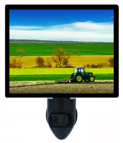 Farming Night Light - Tractor In Field - Cultivating