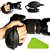 First2savvv new leather digital camera SLR hand strap grip for Nikon D3200 FUJIFILM FinePix S8200 FinePix S6800 FinePix S4800 FinePix S8400W panasonic DMC-GH2 DMC-FZ48 DMC-FZ100 DMC-FZ150 DMC-G2 DMC-G5 with LENS Cleaning Cloth