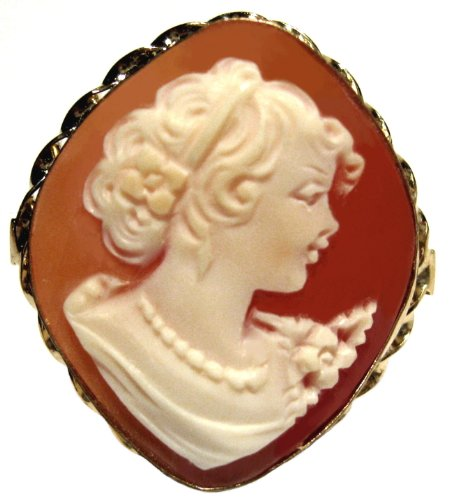 Art Deco, Cameo Ring Master Carved Carnelian Shell Sterling Silver 18k Gold Overlay Size 7.5