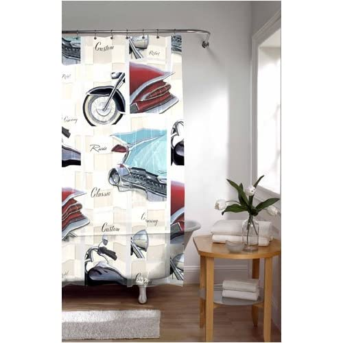 Amazon.com - Vintage Classic Cars & Cycles Shower Curtain -