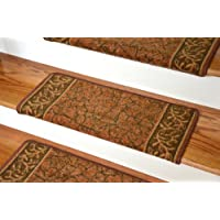 Dean Modern DIY Bullnose Wraparound Non-Skid Carpet Stair Treads - Garden Path Terra Cotta