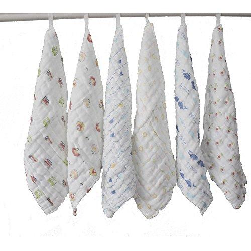 lucear-6pz-30cm30cm-asciugamani-neonato-bagno-cotone-mussolino-pannolini-lavabile-teli-multifunziona