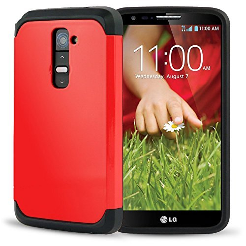 LG G2 AnoKe@ Armor dual layer bumper case TPU PC hybrid protective case for LG G2, AT&T, Sprint, T-Mobile, (Armor Red) (Lg G2 Sprint Screen Replacement compare prices)