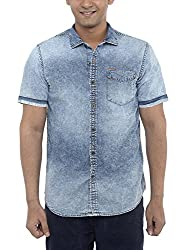 American Bull Men's Casual Shirt (ABSH6024, Blue, Large)