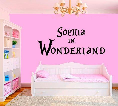 Wall Decal Vinyl Sticker Decals Art Decor Design Sign Alice In Wonderland Custom Name Girls Baby Quote Dorm Nursery Bedroom Fashion (R632) front-753356
