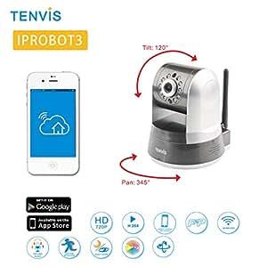 Caméra TENVIS IPROBOT 3 - Caméra IP Wifi de surveillance Pan&Tilt d'intérieur haute Définition HD 720 P Capteur CMOS - Compression vidéo H.264 - Vision nocturne- Détecteur de mouvement - Motorisation 345 ° 120 ° - Audio Bidirectionnelle - Wifi P2P Peer to Peer & DDNS - CCTV - Visionnage sur PC smartphone et tablette depuis n'importe où & n'importe quand