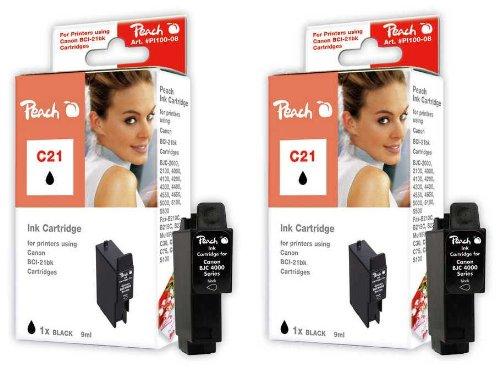 Peach C21 bk Doppelpack Tintenpatronen kompatibel zu Canon, Panasonic, Apple BCI-21 bk, schwarz