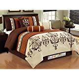 7-Pc Striped Pleated Felt Scroll Damask French Lily Comforter Set Queen Rust Ivory Coffee Brown
