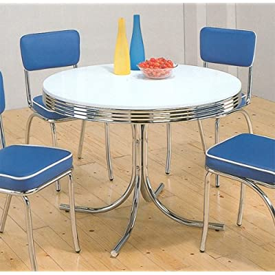Nostalgic Style Chrome Plated Round Dining Table