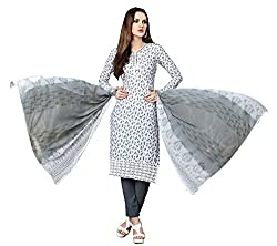 Sanvan White and Grey Pure Cotton Floral Print Salwar Suit Material_SV187SF