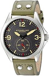 Stuhrling Original Men's 684.03 Tuskegee Quartz Green Leather Strap Watch