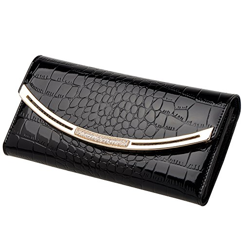 13. Vbiger Alligator Pattern Lady's Money Clip Wallet Cow Leather Trifold Long Style