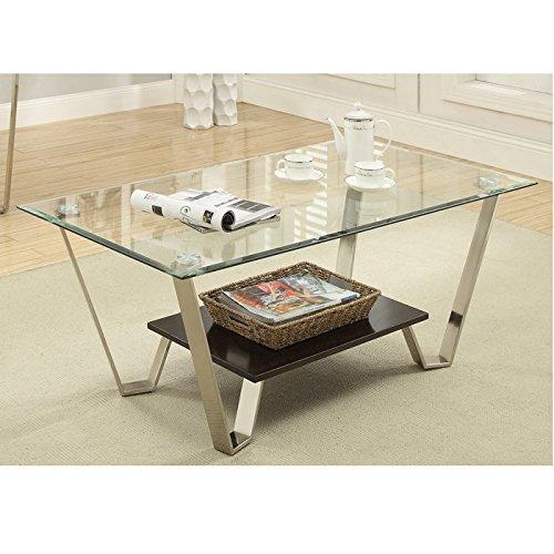 Simplistic Carlita Coffee Table With Beveled Glass Top & Chrome Legs