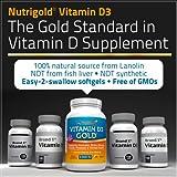 Nutrigold Vitamin D3 5000 IU, 360 Mini Softgels (GMO-free, Preservative-free, Soy-free, USP Grade Natural Vitamin D in Organic Olive Oil)