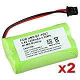 2 pack Home Cordless Phone Battery(2.4v/1400mah) for Uniden BT1007