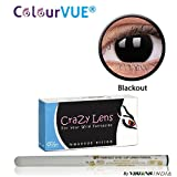 ColourVUE 14MM Crazy Lens Blackout Color Zeropower Quarterly (3 Months) Contact Lens with Free Eye/Lip Liner (2 Lens Pack) By Visions India
