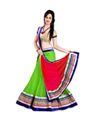 MEGHALYA Green Color Women's Embroidered Net Lehenga Choli (Semi-Stitched)