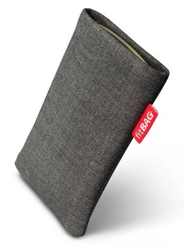Fitbag Jive Gray Custom Tailored Sleeve For Lg G3. Fine Suit Fabric Pouch With Integrated Microfibre Lining For Display Cleaning