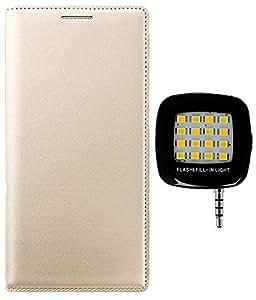 Aravstore Premium Leather Flip Case Cover For - Lava A79 - Gold , Mini Chargable Flash