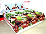 Star 3D-Cartoon Print Double Bedsheet With 2 Pillow Covers , Multicolor